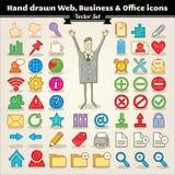 Web, negócio e ícones desenhados mão do escritório Fotos de Stock Royalty Free