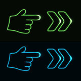 Web neon pointer - arrow, hand. Illustration Royalty Free Stock Photography