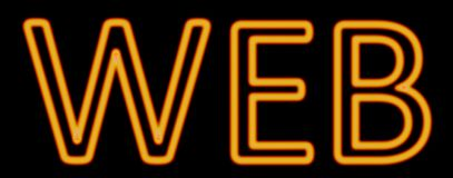 Web neon sign. Abstract 3d rendered words web orange neon sign on black background Royalty Free Stock Photo