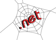 Web with .net. Net at spider web in white background stock illustration
