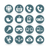 Web and network icons, web buttons. Set of 16 web and network icons, round buttons vector illustration