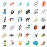 Web operation icons set, isometric style Royalty Free Stock Images