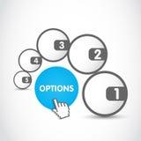 Web-Optionskreise Stockfoto