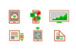 Web orange minimal light icon set. This is file of EPS10 format Royalty Free Stock Photos