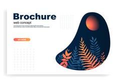 Web ou brochure avec l'illustration dans des feuilles oranges et bleues de style Feuille de gradient illustration de vecteur