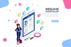 Workshop for Resume Writing Banner Employer Boss. Web page, banner for resume resources. Employer, customer, boss recruit. Businesswoman isometric human stock illustration