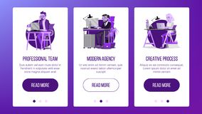Web Page Banners Design Vector. Business Concept. Working Team. Cartoon People. Cloud Room. Illustration Royalty Free Stock Images