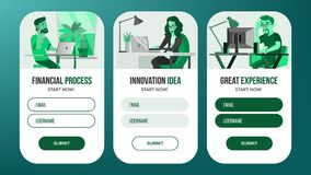 Web Page Banners Design Vector. Business Reality. Creative Project. Cartoon Person. Onboarding Screen. Information Tools Royalty Free Stock Photography