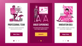 Web Page Banners Design Vector. Business Graphic. Future Energy Project. Cartoon Team. Increase Experience. Illustration Royalty Free Stock Photos
