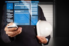 Web page browser of Social media Page VR Interface on the laptop. Computer.engineer businessman hand use smart phone computer with email icon stock photos