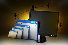 Web page with computer monitor. In color background Royalty Free Stock Photo