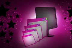 Web page with computer monitor. In color background Stock Photo
