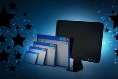 Web page with computer monitor. In color background Stock Image