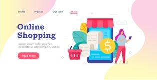 Web page design. Ordering goods via smartphone icon, illustration. Smartphones tablets user interface social media.Flat. Illustration Icons infographics stock illustration