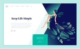 Web page design template for beauty, spa, wellness, natural products, cosmetics, body care, healthy life Royalty Free Stock Images