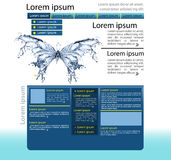 Water splash butterfly web page design template. Web page design template with butterfly Royalty Free Illustration