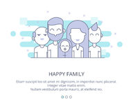 Web Page Design Template of Happy Family, Grandparents, Parents and Kids. Line business concept web vector illustration Royalty Free Stock Photography
