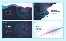 Web page design templates with abstract background for business analysis and statistics, management, corporate communication. vector illustration