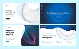 Web page design templates with abstract background for marketing research and strategy, web design and development, advertising stock illustration