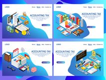 Web page design templates for Accounting tax isometric vector concept. Audit, documents analysis, business review, paperwork with money. Landing page stock illustration