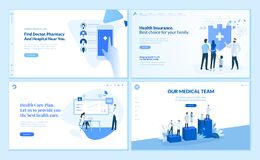 Web page design templates collection of healthcare vector illustration