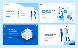 Web page design templates collection of healthcare stock illustration