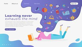 Web page design templates for education, learning, back to school. Modern vector illustration concept for website and mobile. Web page design templates for stock illustration