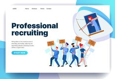 Web page design templates for professional recruiting vector illustration