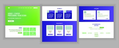 Website Page Vector. Business Agency. Web Page. Design Front End Site Scheme. Landing Template. Protection Receipt Stock Images