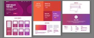 Web Page Design Vector. Website Business Graphic. Shopping Online Responsive Interface. Landing Template. Global Stock Photography