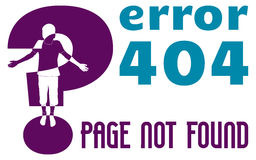 Web page error 404. Page not found,  illustration, vector with boy silhouette Stock Image