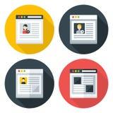 Web page flat circle icons set Royalty Free Stock Photos