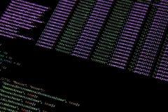 Web page javascript code on computer monitor. Close up photograph of javascript code on computer monitor Stock Photos