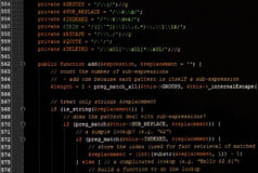 Web page javascript code on computer monitor Stock Images
