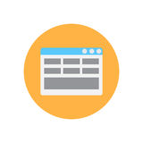 Web page layout flat icon. Round colorful button, circular vector sign, logo illustration. Royalty Free Stock Photography