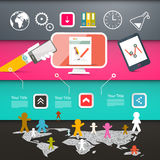 Web Page Layout with Technology Icons Royalty Free Stock Photography