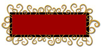 Web Page Logo Black Red Swirls. An isolated rectangle and square shaped logo, label, sticker or decorative template element in black red and gold colors and Stock Images