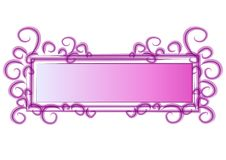 Web Page Logo Pink Swirls. An isolated rectangle and square shaped logo, label, sticker or decorative template element in purple and white colors and abstract Royalty Free Stock Images