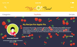 Web Page My Food Recipe Design. Cooking site, dinner and cook, website eat, culinary blog, gourmet restaurant, cookbook preparation illustration. Menu banner Royalty Free Stock Photo