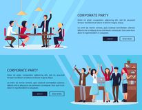 Web Page of People Partying Vector Illustration Stock Photos