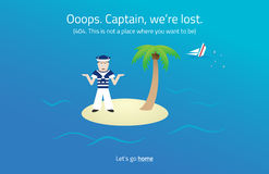 404 web page. Sailor on desert island theme. Royalty Free Stock Images