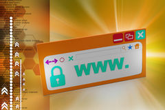 Web page with security lock. In color background Stock Image