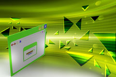 Web page showing loading screen with arrow pointer. In color background Stock Photography