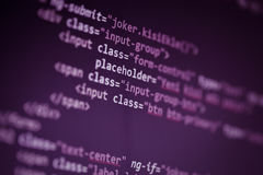 Web page source codes macro. Macro photograph of web page source codes Stock Images
