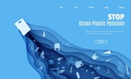 Free Web Page Stop Ocean Plastic Pollution Banner Design Template In Paper Cut Style. A Plastic Bag Floats In The Sea, Trash Royalty Free Stock Images - 168461029
