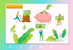Web page template with managers making money. Concept with people collecting money to the pigggy bank stock photo