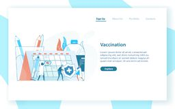 Web page template with tiny doctors or physicians, giant syringe with vaccine and calendar or timetable. Vaccination. Awareness and healthcare service. Flat vector illustration