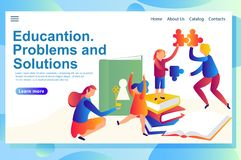 Web page templates of education vector illustration