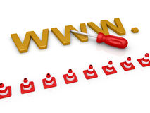 Web page is to be repaired. WWW letters and a screwdriver are behind traffic cones Royalty Free Stock Images