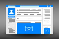 Web page user interface template. Social network website browser window. UI design in flat style. Vector. Web page user interface template. Social network royalty free illustration